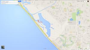 Google map of Bolsa Chica at walk bridge off Pacific Coast Highway