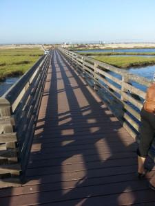 Bolsa Chica walk bridge across wetlands