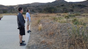 Jeff Bray and Mike Sanders patiently await the arrival of the Lesser Nighthawks at Irvine Regional Park on July 6th, 2015